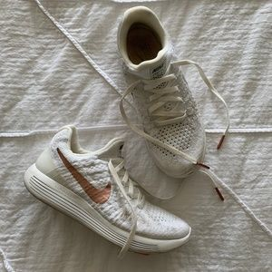 White Nike Sneakers with Rose Gold Accents